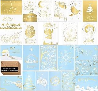 24 Religious Christmas Cards -Elegant Religious Christmas Cardsin 24 Unique Gold Designs- Religious Christmas Greeting Cards -Beautiful Religious Christmas Cards With 24 Kraft Envelopes- 4 x 6 inches