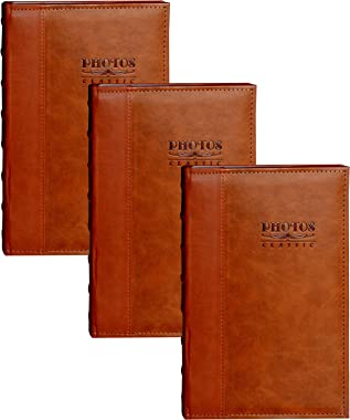 Zoview Art Photo Albums Set of 3, Holds 300 4x6 Photos, 3 per Page, Leather Cover Album (Brown)