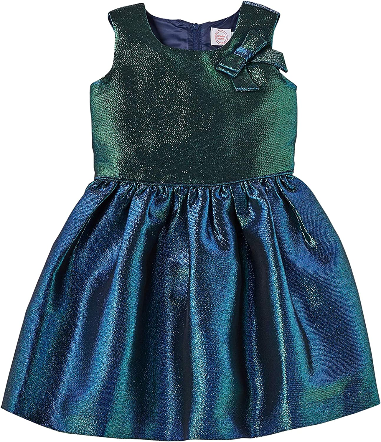 WonderNation Holiday, Christmas, Special Ocassion Iridescent Dress with Bow Detail