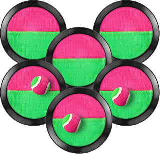 TOODOO Toss and Catch Balls Game, 3 Set Paddle Toss and Catch Ball, 6 Paddles and 3 Balls, Suitable for Sports, Beach, Gifts, Event and Game Prizes, Party Favor and Supplies (Black)
