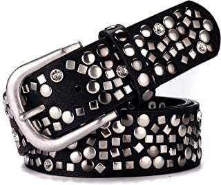 Ayli Women's Punk Rock Metal Rivets and Rhinestone Genuine Leather Jean Belt