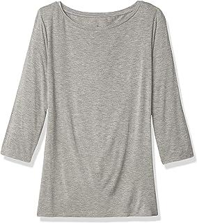 Lark & Ro Women`s Three Quarter Sleeve Super Soft Boatneck T-Shirt