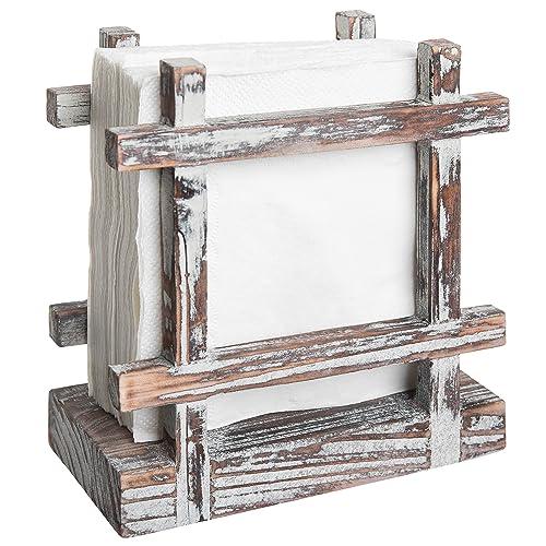 Rustic Torched Wood Upright Napkin Holder, Table Top Paper Towel Dispenser