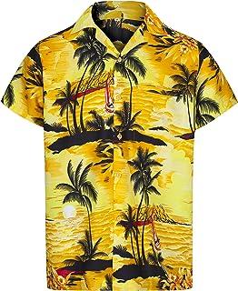 Redstar Fancy Dress - Camisa Hawaiana de Manga Corta - para Hombre - Aloha Verano - Todas Las Tallas - Amarillo - XXL