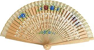 La Senorita Flamenco Fächer, Handfächer, Tanzfächer - Holz mit Blumen leicht braun