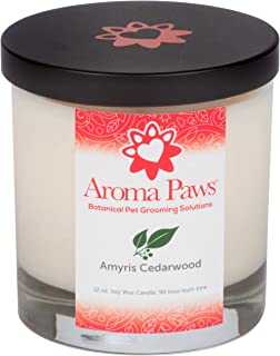 Aroma Paws Aromatic Dog Candle – for Canine, Pet Odors – Cotton Wick, Handcrafted – Soy Wax – Reusable, Recyclable Jar – 90 Min. Burn Time – 12 Oz.