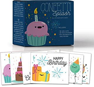 Confetti Splash, Assorted Birthday Sewing Note Cards for Kids, Make Your Own Fun Greeting Cards, 6 Customizable Designs, Pack of 36 Blank on The Inside, Bulk Box Set, 36 Envelopes, 6.5 x 5.5 in.