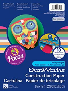 Pacon SunWorks Construction Paper, 10 Assorted Colors, 9 in x 12 in, 50 Sheets
