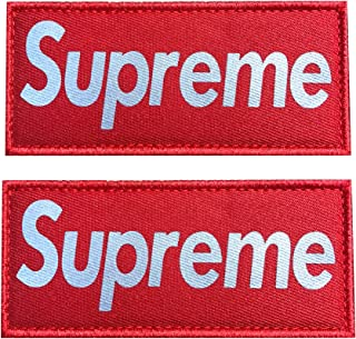 Hannah fit 4.5x2 Inch Reflective Supreme Patch with Hook and Loop (2 Pack) (Red)