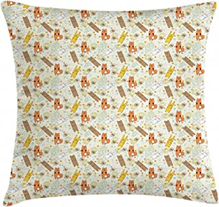 SPENCER HENRY Bear Fox and Bunny Pillow Cover Bedding Decorative Linen Throw Pillow case Square Hypoallergenic - Wrinkle Resistant Pillowcase 24 x 24 Inch