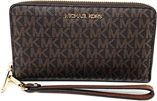 Michael Kors Women's Jet Set Travel Medium Zip Around Phone Holder Wallet, Brown