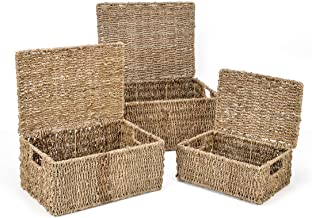 Trademark Innovations Rectangular Seagrass Baskets with Lids (Set of 3)