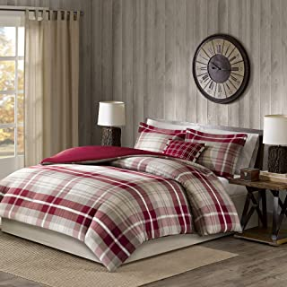 Woolrich Sheridan 4 Piece 100% Yarn Dyed Cotton Duvet Cover Bedding Set, Full/Queen Size, Tan/Red