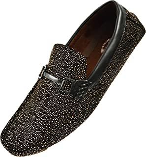 e110952d43f7 Amali Mens Metallic and Black Speckled Driving Shoe