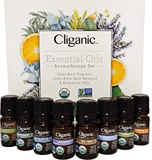 Sponsored Ad - Cliganic USDA Organic Aromatherapy Essential Oils Set (Top 8), 100% Pure Natural - Peppermint, Lavender, Eu...