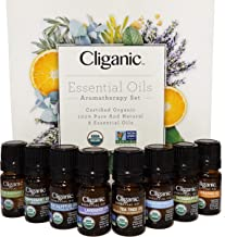Cliganic USDA Organic Aromatherapy Essential Oils Set (Top 8), 100% Pure Natural - Peppermint, Lavender, Eucalyptus, Tea T...