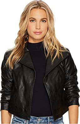 1.STATE - Cropped Faux Leather Jacket