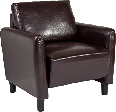 Taylor + Logan Upholstered Living Room Chair with Rounded Arms, Brown Leather