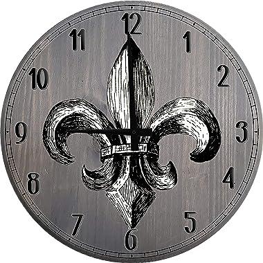 556 Gear Black and Grey Wall Decor Fleur de Lis Wall Clock for Kitchen Large Wood Wall Clock Barnwood Gray 18 inch