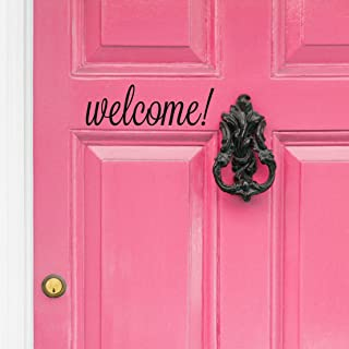 Black Welcome Front Door Vinyl Decal Cursive Handwriting Wall Art Décor Sticker Lettering Removable