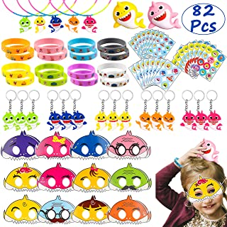 Ticiaga Cute Shark Party Favors, 82pcs Little Shark Theme Party Supplies for Birthday Goodies Bag Fillers, Pinata Fillers, Doo Doo Party Toys, Shark Mask, Stickers, Bracelet for Boys Girls
