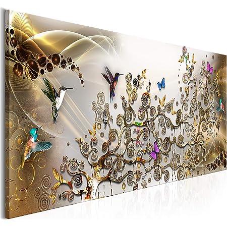 decomonkey | Impression sur Toile intissée Gustav Klimt Abstrait 120x40 cm 1 Pieces Tableau Mural Image sur Toile Photo Images Motif Moderne Decoration tendu sur Chassis Arbre Papillon