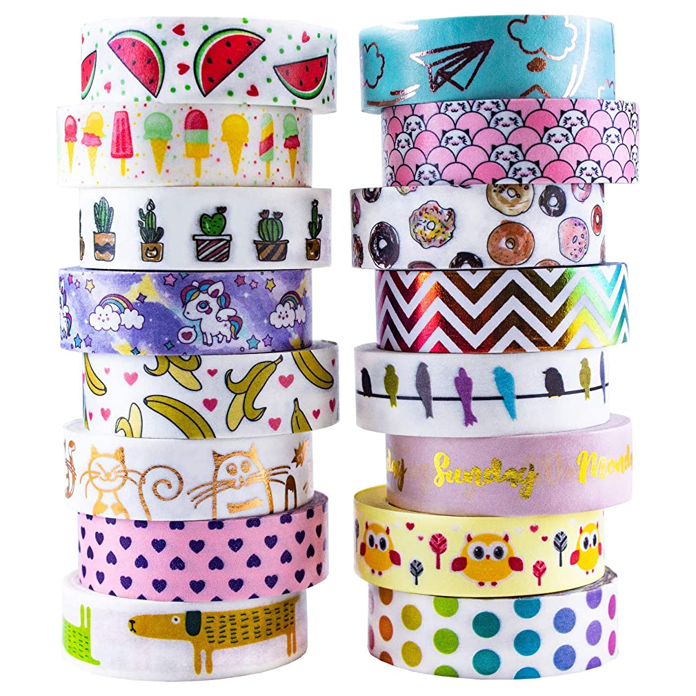 Aloha Washi Tape Set 16 Rolls of Decorative Masking Tape for Bullet Journals, Day Planners, Gift Wrapping and DIY Scrapbooking