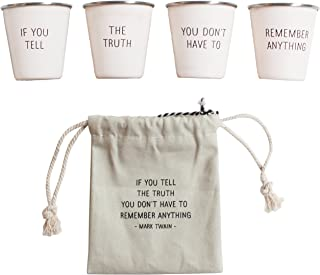 Izola Stainless Steel Cool Shot Glass Set with Canvas Travel Pouch
