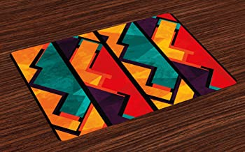 Ambesonne Modern Place Mats Set of 4, Geometric Modern Art Design with Black Bold Zig Zag Borders Pattern, Washable Fabric Placemats for Dining Table, Standard Size, Teal Orange