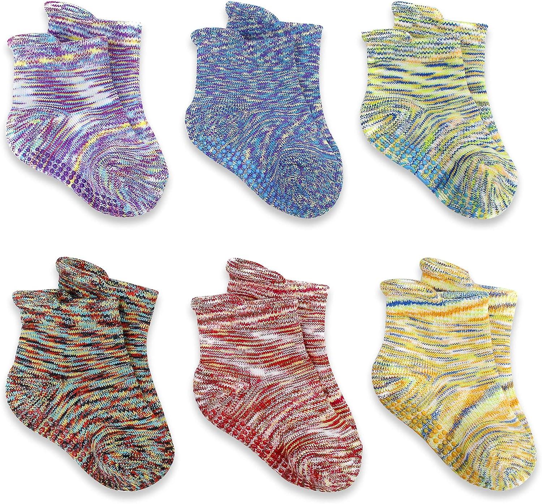 BIOAUM Baby Socks 0-12 Months - Gripper Socks for Toddler Infant Newborn Kids Boys Girls Non Slip/Anti Skid 6 Pairs