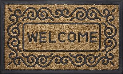 "Achim Home Furnishings COM1830SC6 Scrolls Coco Door Mat, 18 by 30"", Black, Brown"