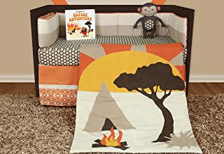 Snuggleberry Baby 6 Piece Crib Set For Boys and Girls - with Storybook, Bumper, Fitted Sheet, Skirt, Quilt and Plush Accessory Toy - African Dream Theme Nursery Bedding
