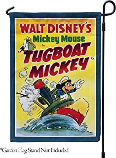 """Flagology.com, Disney, Mickey Mouse, Tugboat Mickey Classic Poster – Garden Flag – 12.5"""" x 18"""", Outdoor, Exclusive Premium Fabric, Printed on Both Sides, Officially Licensed Disney"""