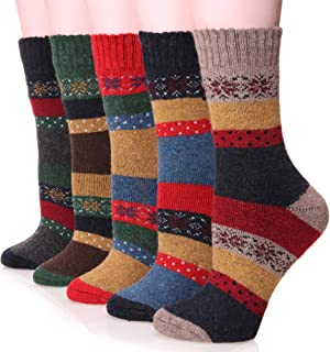 Womens Wool Socks Thick Heavy Thermal Cabin Fuzzy Winter Warm Crew Socks For Cold Weather 5 Pack