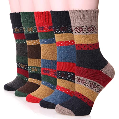 843749c53835 Womens Wool Socks Thick Heavy Thermal Cabin Fuzzy Winter Warm Crew Socks  For Cold Weather 5
