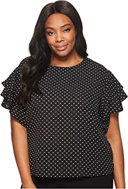 Plus Size Tiered Ruffle Sleeve Poetic Dots Blouse