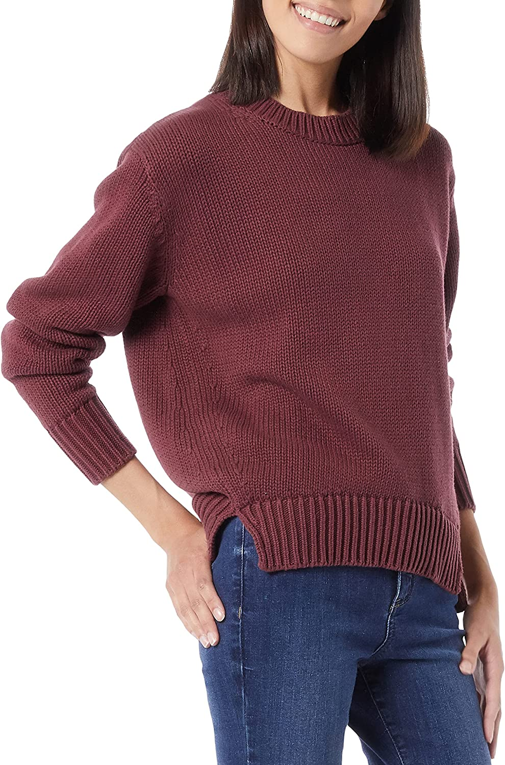 Amazon Brand - Daily Ritual Women's 100% Cotton Oversized Chunky Long-Sleeve Crew Pullover Sweater