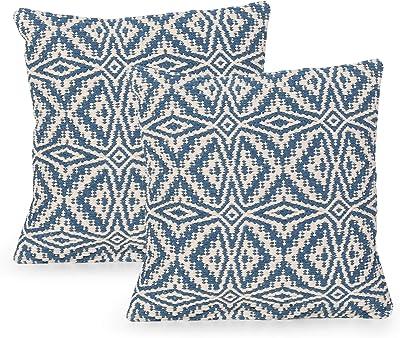 20 by 20 Shiraleah New York Square Chevron Pillow Blue 20 by 20 28-78-063BLU