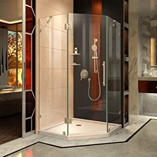 DreamLine Prism Lux 38 in. x 74 3/4 in. Fully Frameless Neo-Angle Shower Enclosure in Brushed Nickel with Biscuit Base