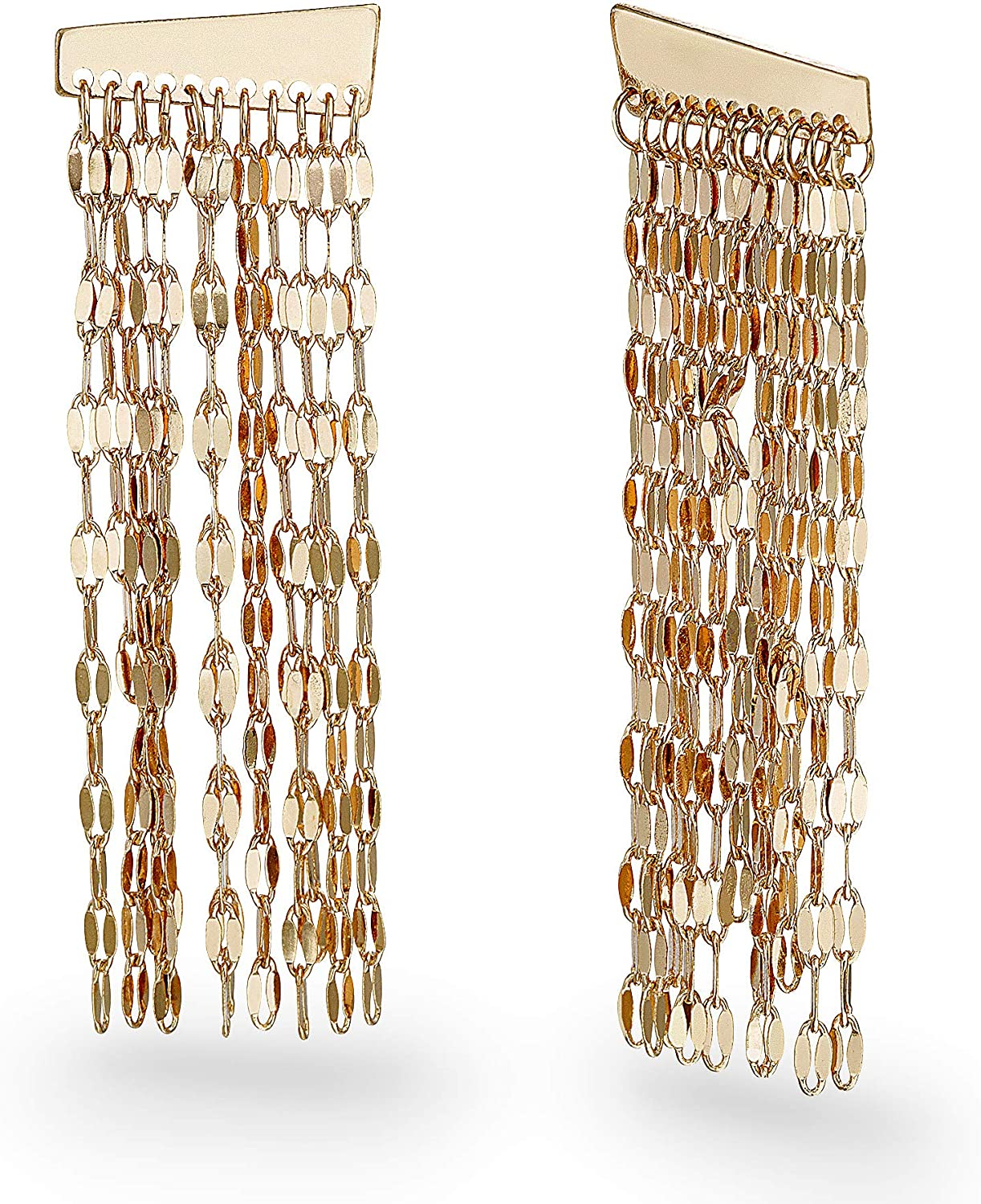 Steve Madden Yellow Gold-Tone Sparkle Chain Fringe Earrings For Women, One Size (SME513456GD)