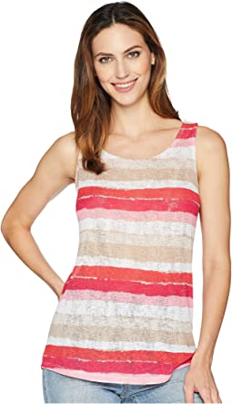 Printed Textured Knit Tank Top with Back Keyhole