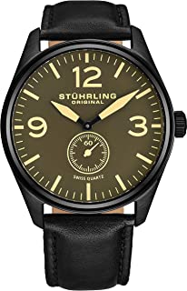 Stuhrling Original Men's 931.02 Aviator Seconds Subdial Watch With Black Leather Band