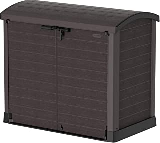 Duramax Cedargrain StoreAway 1200L Plastic Garden Storage Shed / Arc Lid - Outdoor Storage Bike Shed – Durable & Strong Construction– Ideal for Tools, Bikes, BBQs & 2x 240L Bins, 145x85x125 cm, Brown