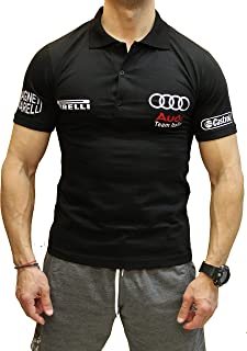 T-Shirt Italia Fans Black Auto Gift Handmade S Polo Motorsport Line Combed Cotton Logo Emblem Print