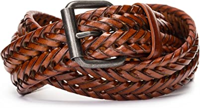 Tanpie Fashion Men's Braided Belt Leather Strap for Jeans