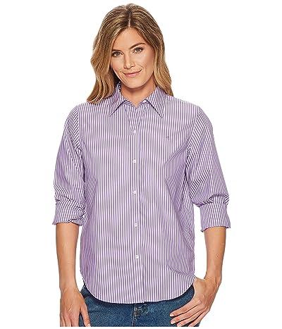 LAUREN Ralph Lauren Cotton Button Down Shirt (Lavendar/White) Women