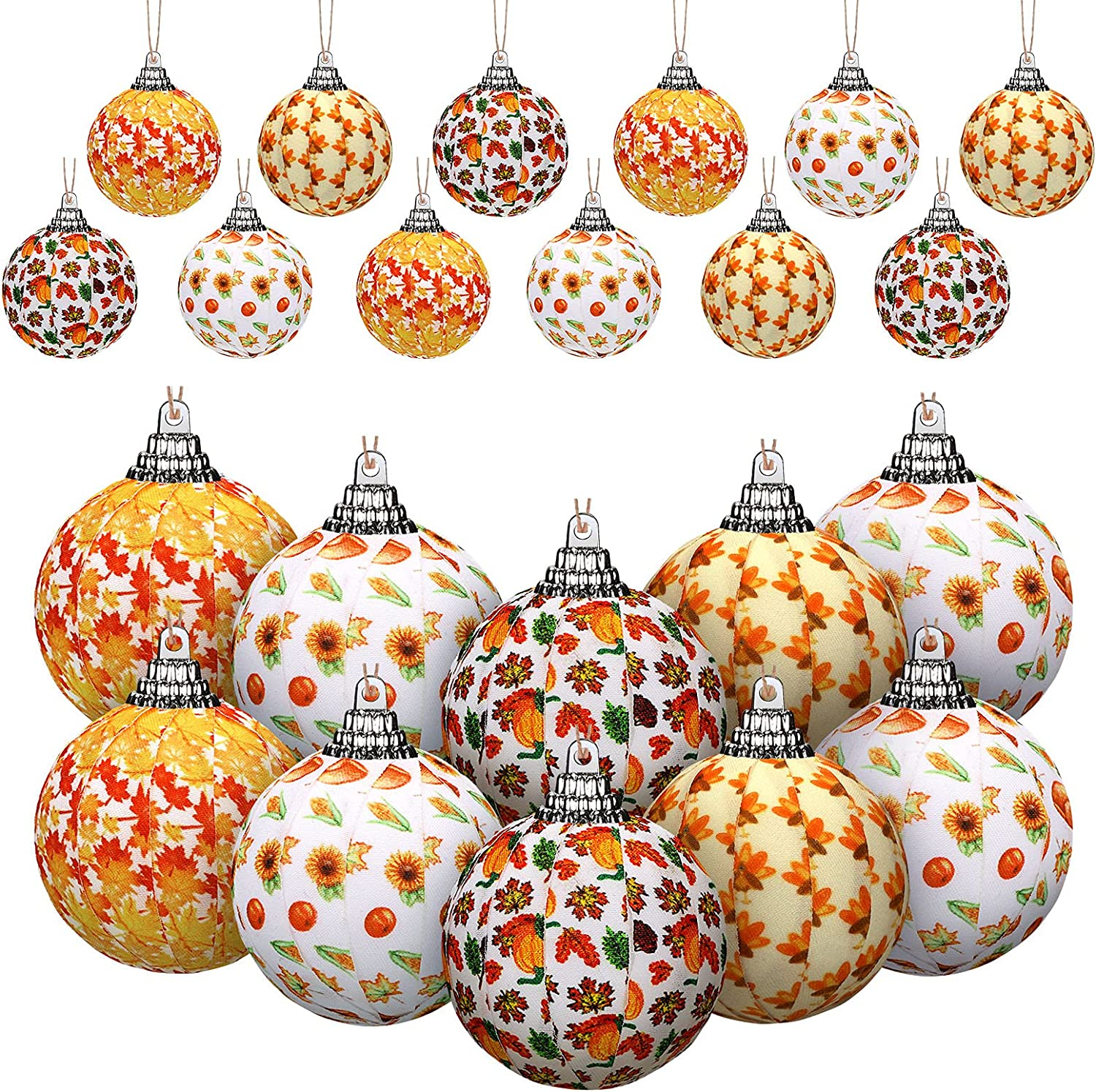 16 Pieces Fall Hanging Ball Ornament Thanksgiving Fabric Wrapped Hanging Ball 2 Inch Ball Hanging Ornament with Turkey Pumpkin Maple Leaves for Home Fall Thanksgiving Day Party Decoration