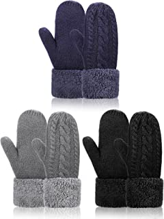 3 Pieces Winter Gloves Knitted Warm Thick Mittens Plush Lined Cuff Knit Gloves for Cold Weather (Black, Dark Grey, Blue)