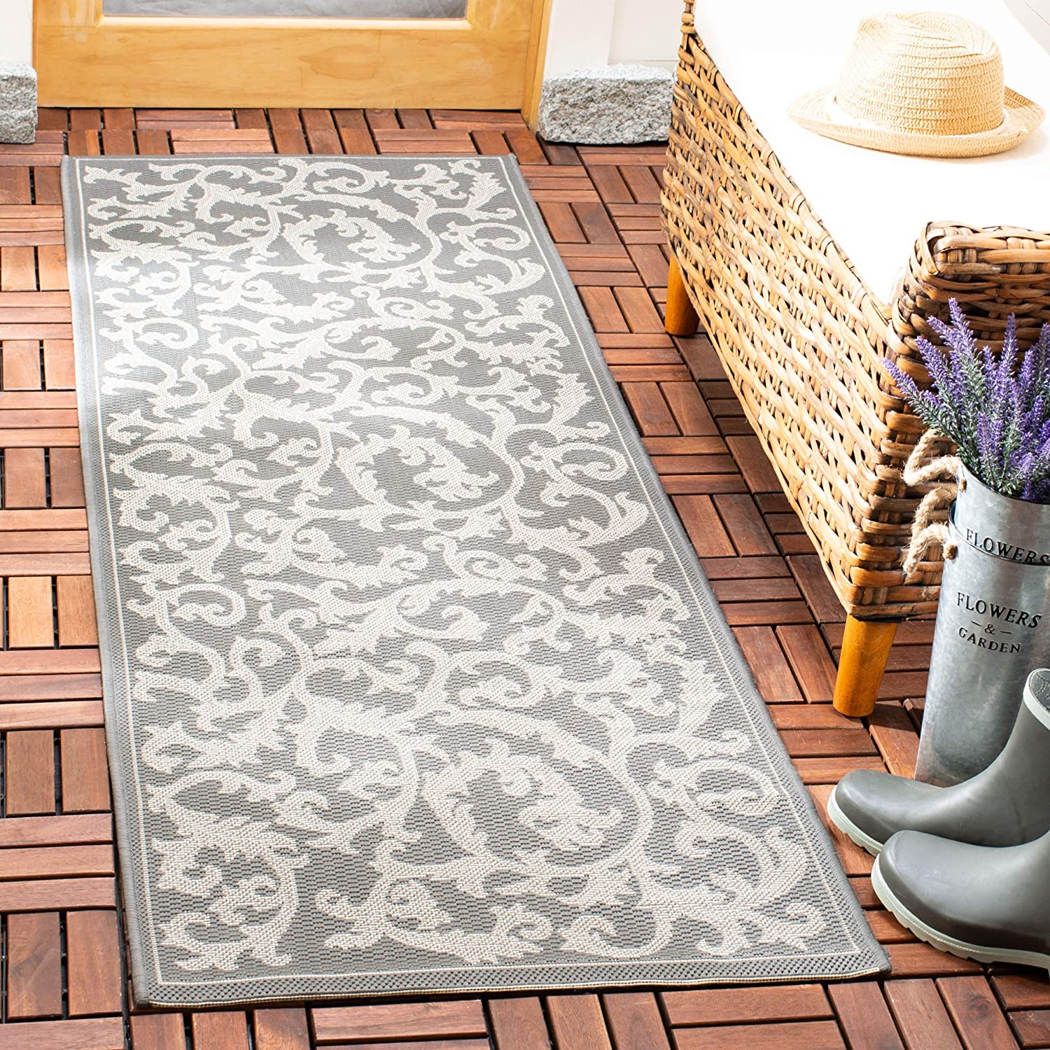 (0.6m x 0.9m, Anthracite Light Grey) - Safavieh Courtyard Collection CY6533-87 Anthracite and Light Grey Indoor Outdoor Area Rug (0.6m x 0.9m)