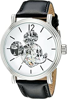Disney Men's W002323 Mickey Mouse Silver-Tone Watch with Black Band